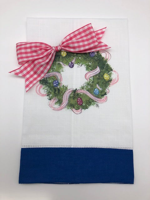 TEA TOWEL - DBB - EASTER WREATH - BLUE BAND WITH BOW