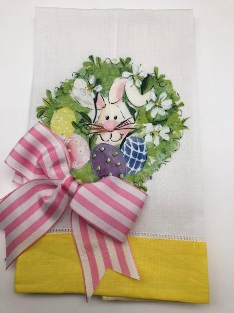 EASTER TEA TOWEL - DBB - BUNNY WREATH - YELLOW BAND WITH BOW