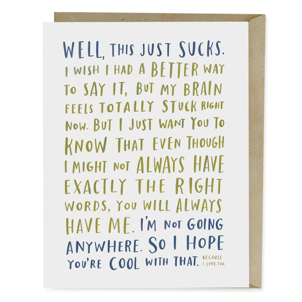 GREETING CARD -EM- THIS JUST SUCKS! - EMPATHY CARD