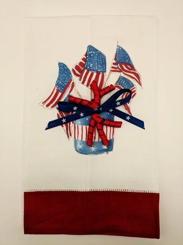 TEA TOWEL - DBB - FLAGS - RED BAND WITH BOW