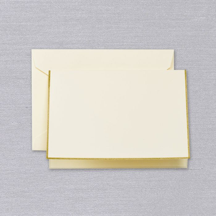 BOXED NOTE CARDS - CCO - ECRU FOLD OVER WITH GOLD BORDER
