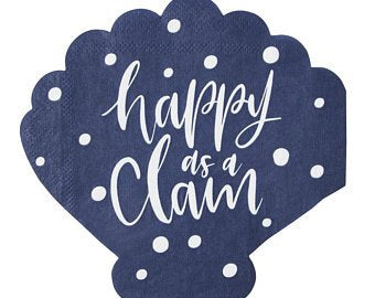 BEVERAGE NAPKIN - SL- HAPPY AS A CLAM
