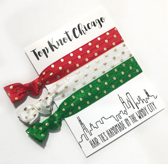 Hair Ties - Tkc - Red And Green With Gold Dots 3 On A Card