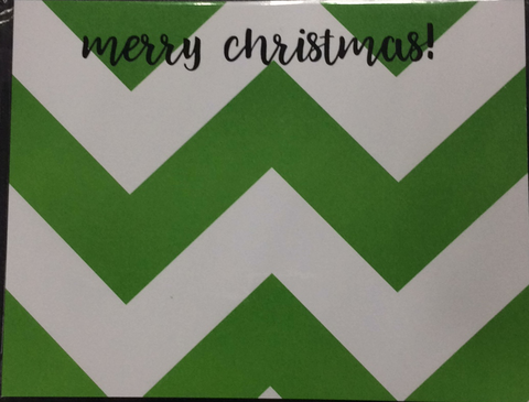 CHRISTMAS NOTEPAD - DON - MERRY CHRISTMAS GREEN AND WHITE CHEVRON