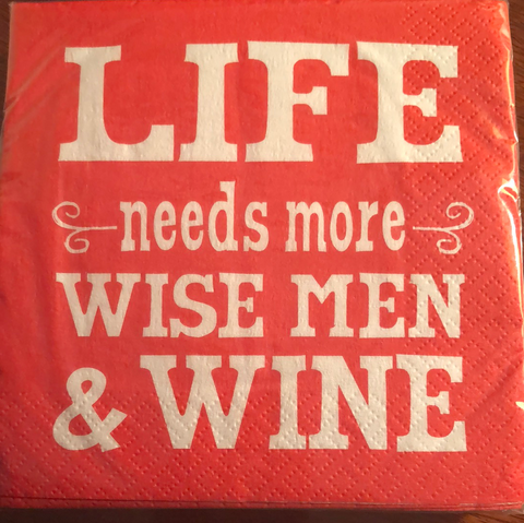 NAPKIN - ICPG - CHRISTMAS LIFE NEEDS MORE WISE MEN & WINE