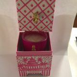 CANDLE - DTHY - 8 OZ PINK GRAPEFRUIT CANDLE IN PINK AND WHITE CHINOISERIE BOX WITH PINEAPPLE