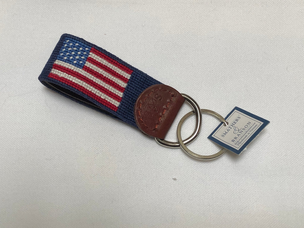 "KEY FOB - SB -  ""AMERICAN FLAG"" NEEDLEPOINT KEY FOB"