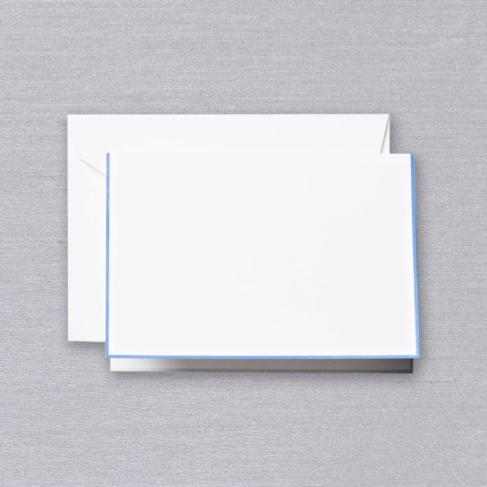 BOXED NOTE CARDS - CCO - PEARL WHITE FOLD OVER WITH NEWPORT BLUE BORDER