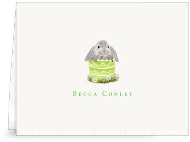 BUNNY IN GREEN EGG - SINGLE FOLDED NOTE