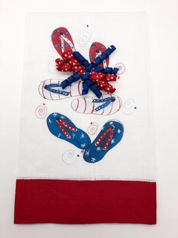 TEA TOWEL - DBB - PATRIOTIC FLIP FLOPS - RED BAND WITH BOW