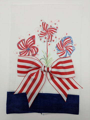 TEA TOWEL - DBB - PATRIOTIC PIN WHEEL - BLUE BAND WITH BOW