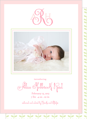 BOXED IMPRINTABLE INVITATION - PPR - PINK BORDER SET OF 10:
