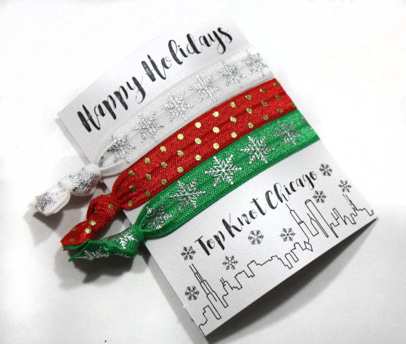 CHRISTMAS HAIR TIES - TKC - SNOWFLAKES AND DOTS 3 ON A CARD