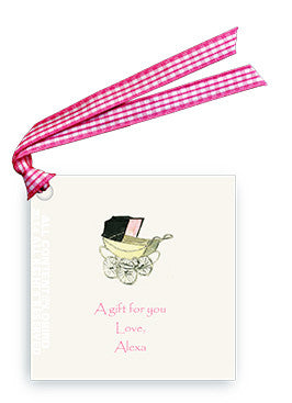 GIFT TAG - LB - VINTAGE BABY CARRIAGE PINK