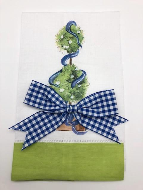 TEA TOWEL - DBB - TOPIARY - LIME BAND WITH BOW