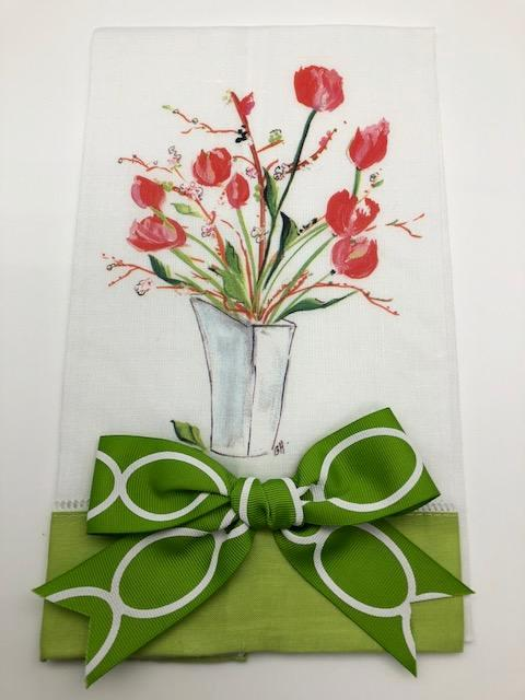 TEA TOWEL - DBB - TULIPS - LIME BAND WITH BOW
