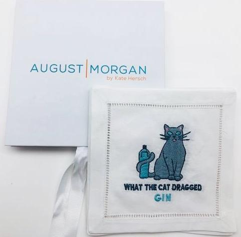 "NAPKINS LINEN - AM - ""WHAT THE CAT DRAGGED GIN"" LINEN COCKTAIL SET OF 4 BOXED"