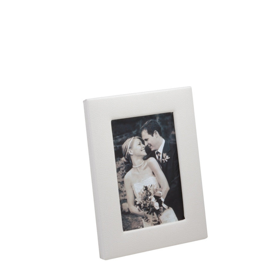 4X6 WHITE NAPPA COWHIDE LEATHER - PICTURE FRAME