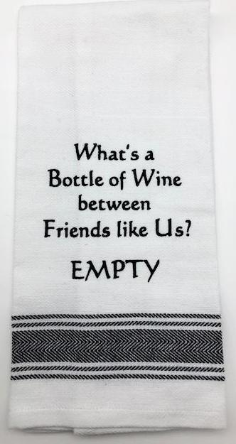 BAR TOWEL - WH - BOTTLE OF WINE - EMPTY