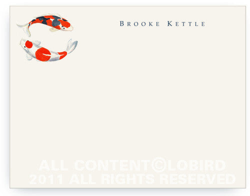 BOXED NOTE CARDS - LB - DOUBLE KOI  WITH CHARM