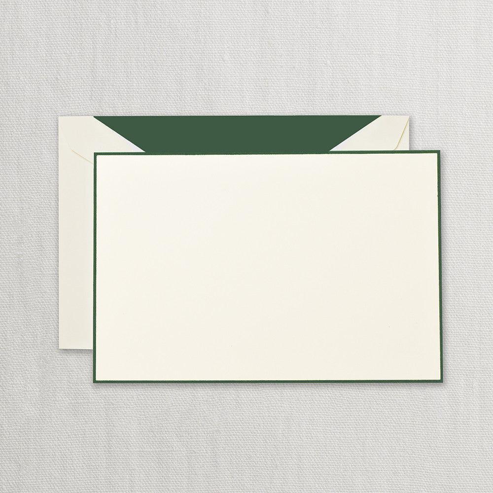 BOXED NOTE CARDS - CCO - HUNTER GREEN BORDERED CORRESPONDENCE CARD