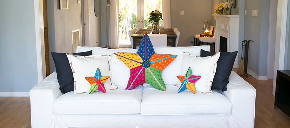 Barefoot Handwoven Starfish Pillows