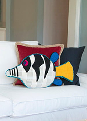 Handwoven Fish Pillow - Flash, the Sharpnosed Puffer Fish