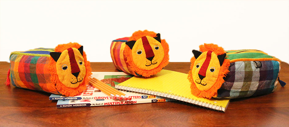 Handmade Lion Zip Pouches
