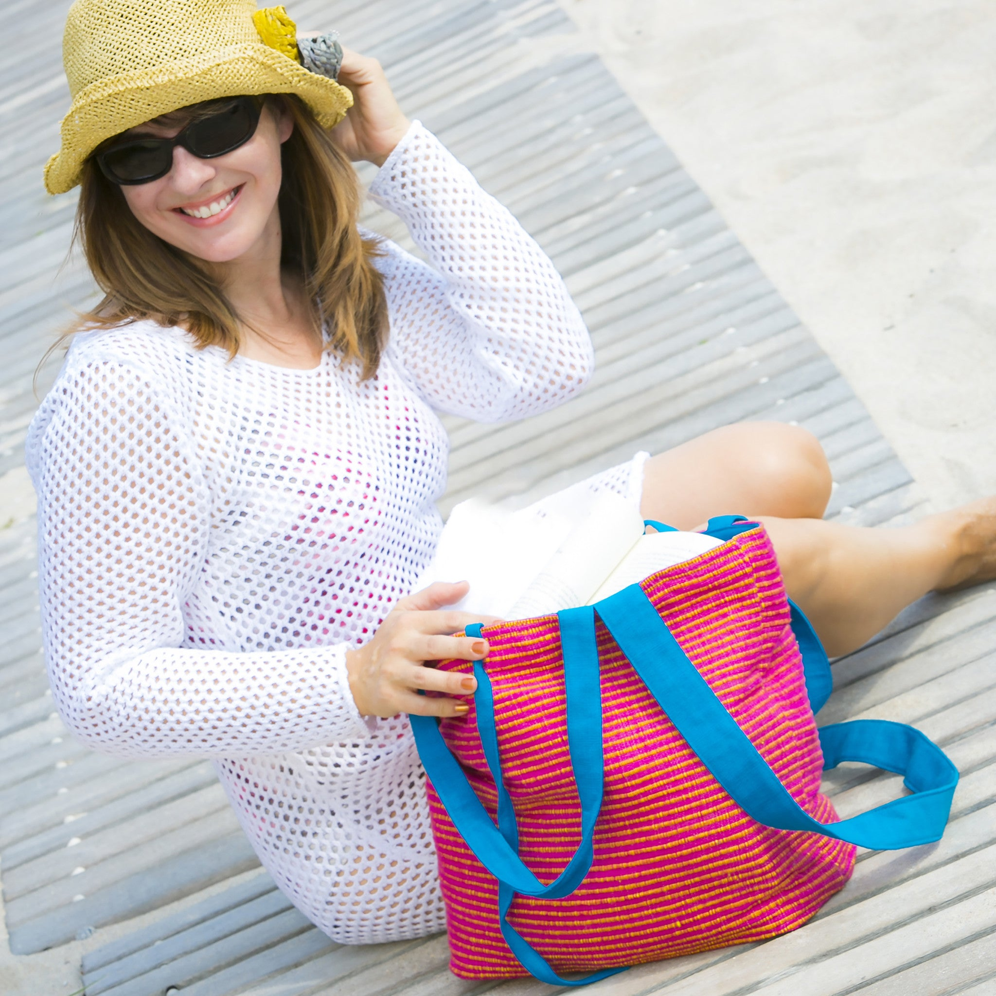 The Everyday Crossbody/Tote - Great for a day at the beach! (sample fabric shown)