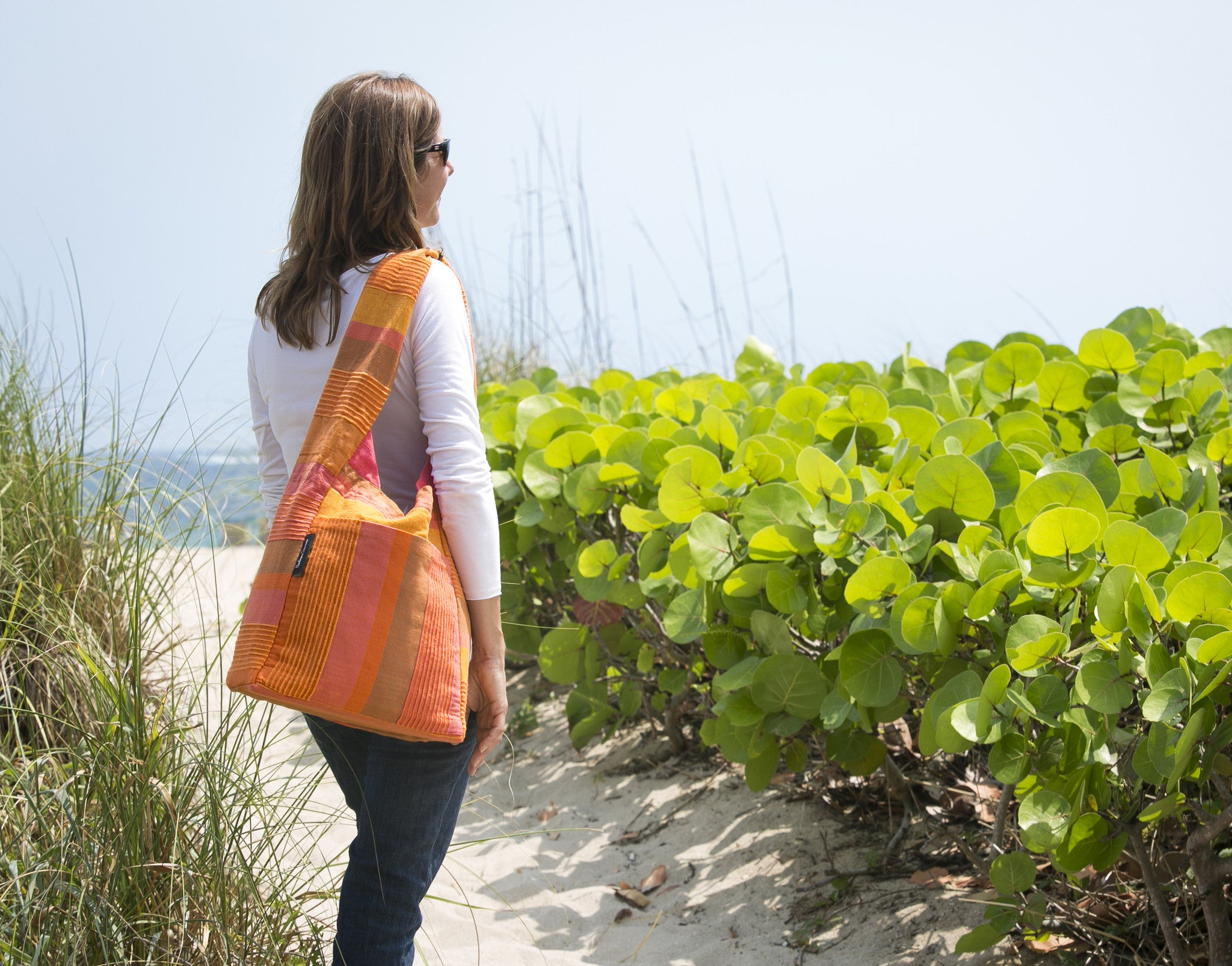 The Versatile Shoulder Bag - Great for a day at the beach! (Sunset fabric shown in large size)