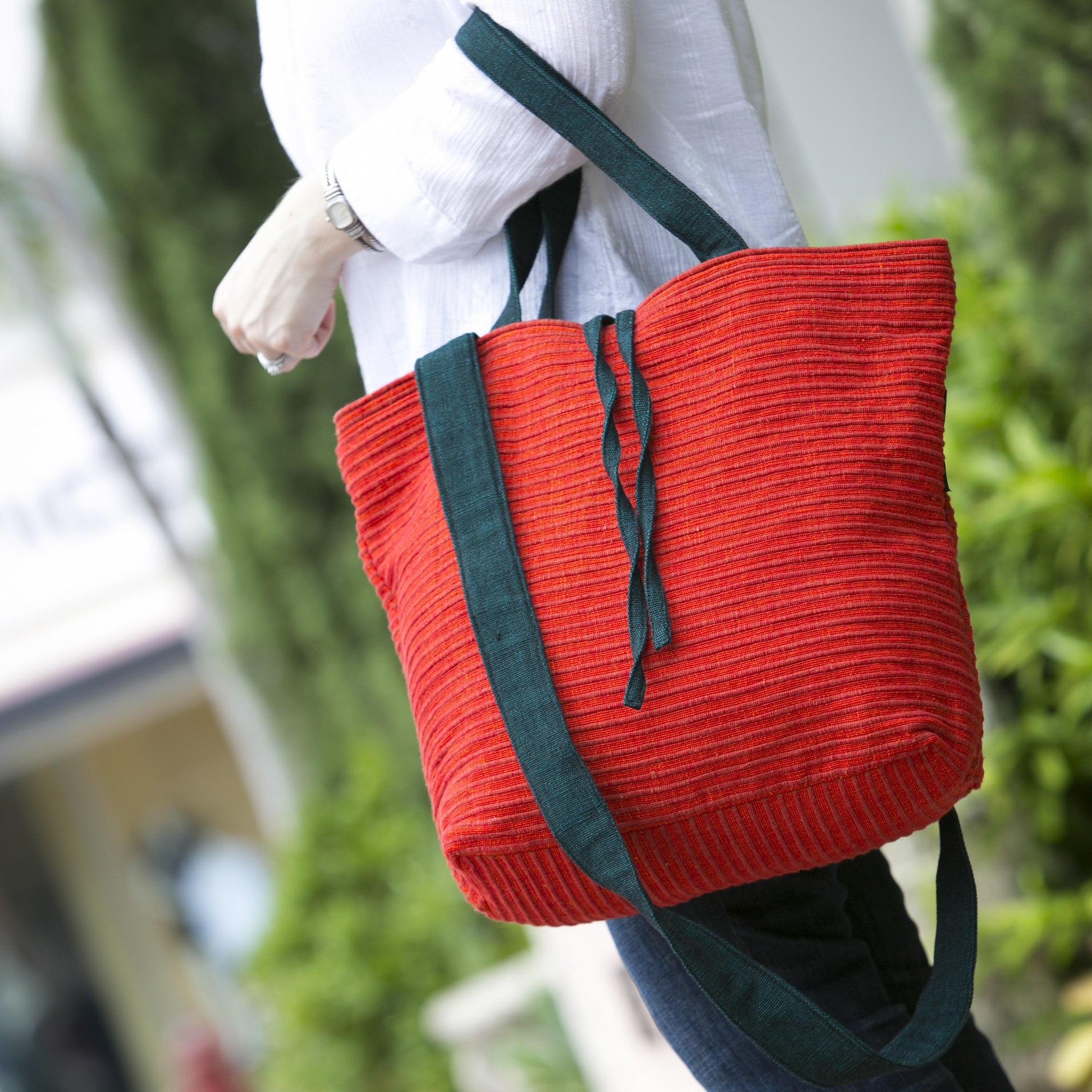 The Everyday Crossbody/Tote - Great for a day of shopping! (Hibiscus fabric shown)
