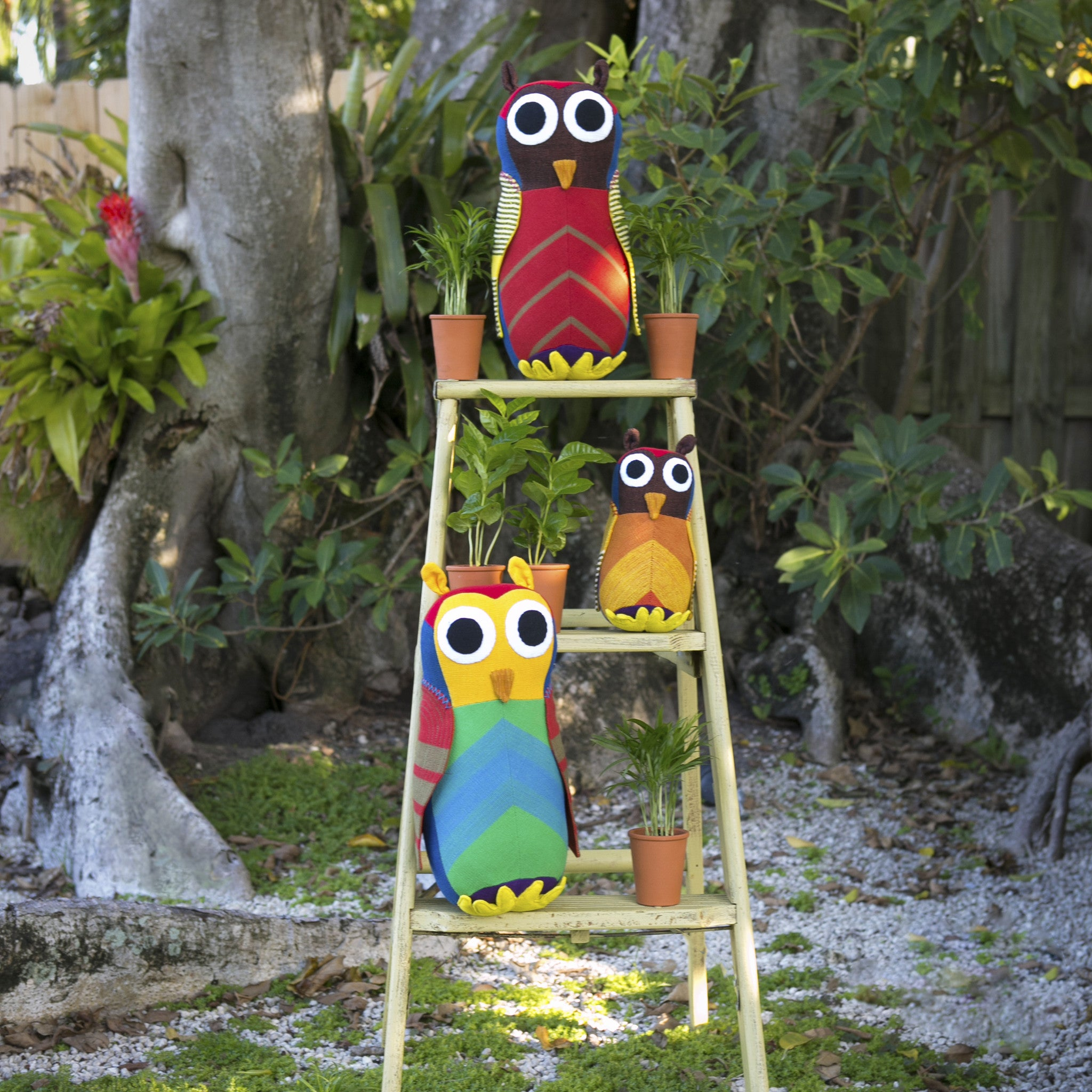 The Owl family is ready to make a hoot! (Harold & Harvey shown in large size and Homer in small size)
