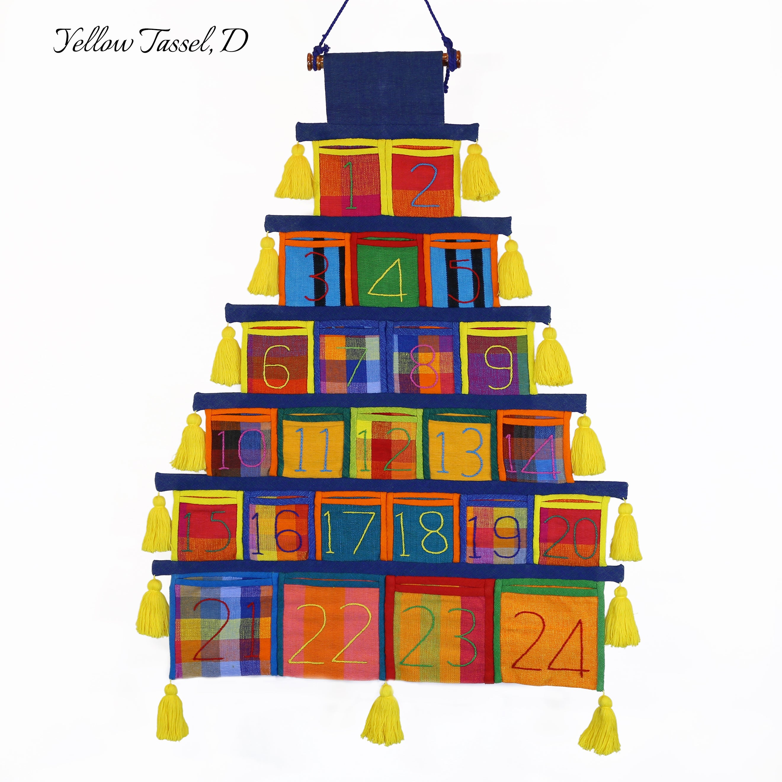 Advent Calendar, Navy Trim (with yellow tassels)