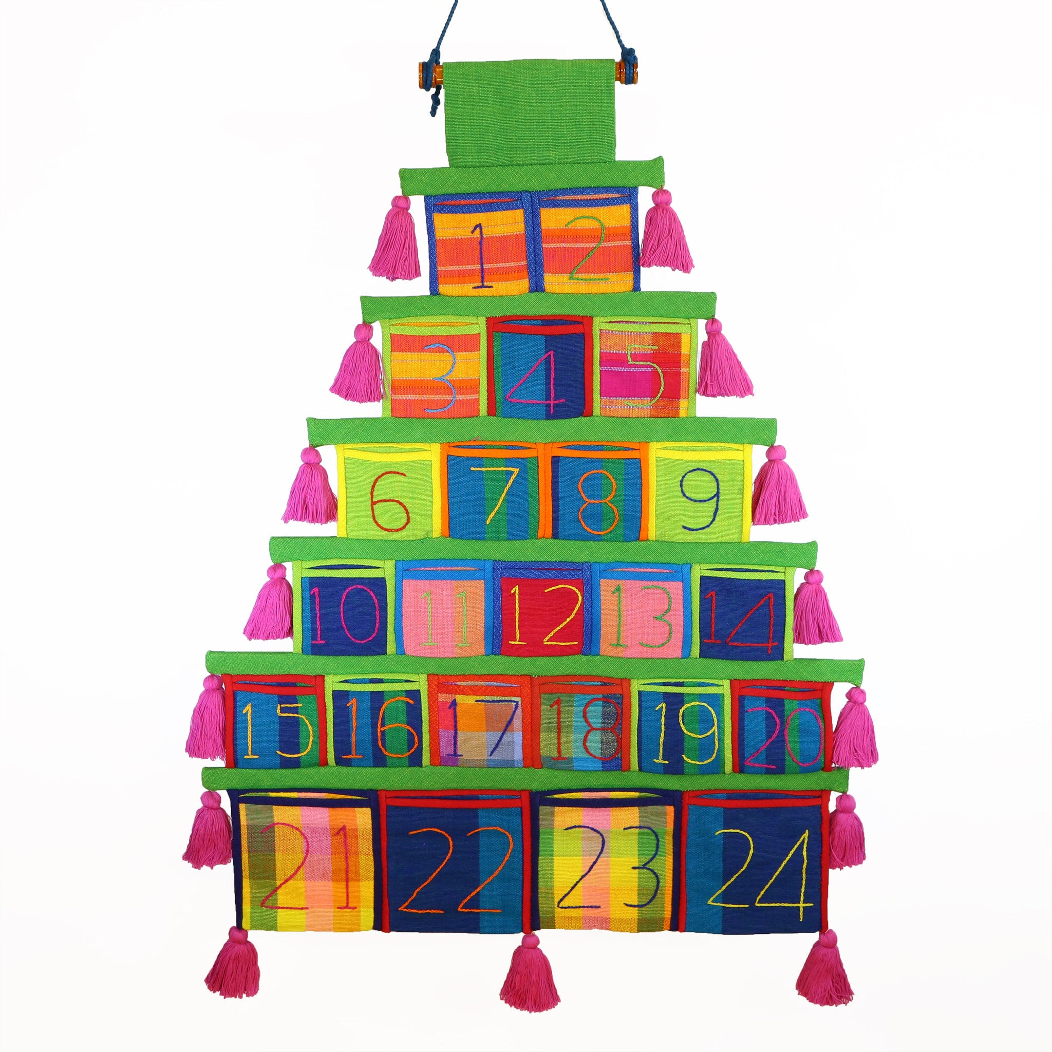 Advent Calendar, Green Trim (with light pink tassels)