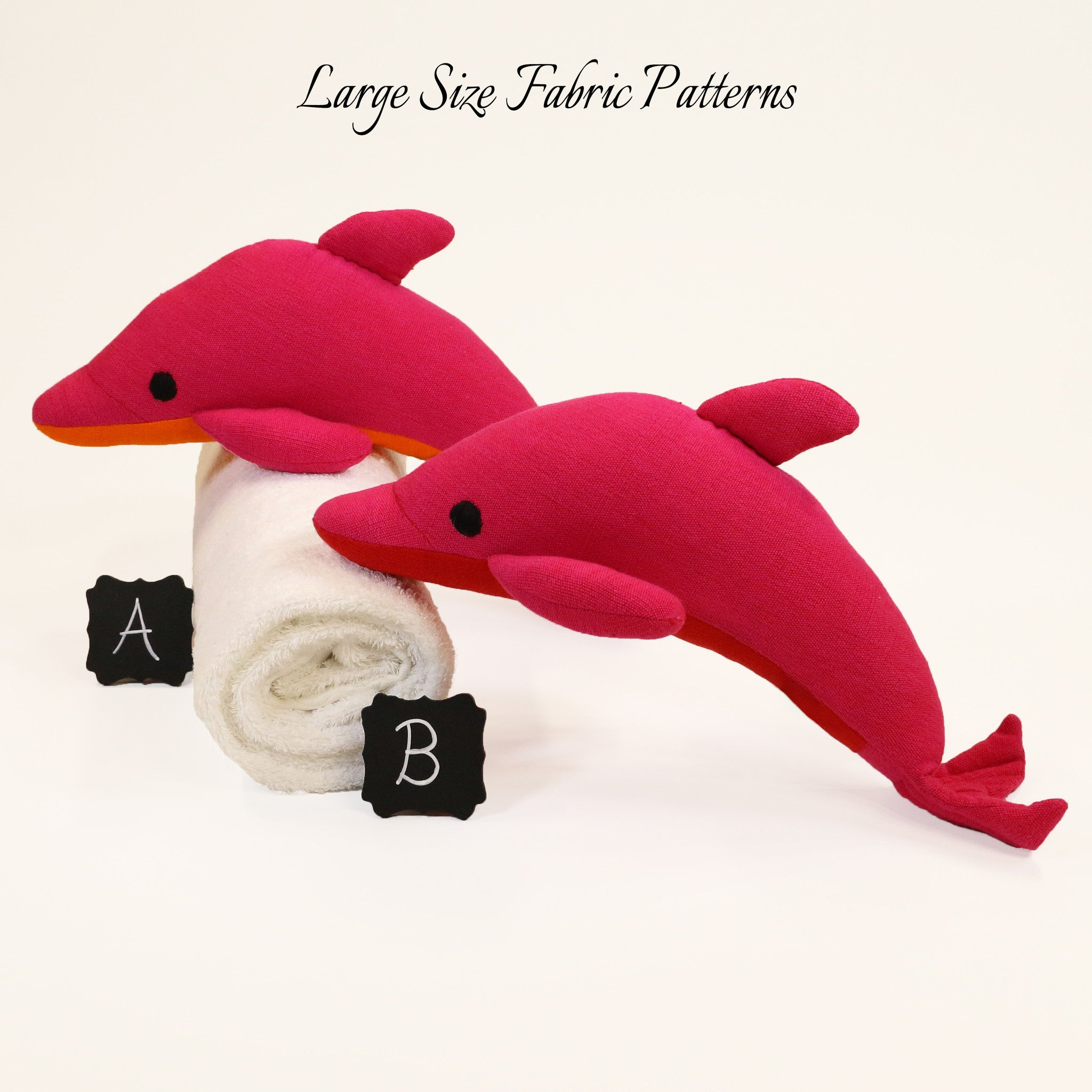 Daffy, the Dolphin – all large size fabric patterns shown