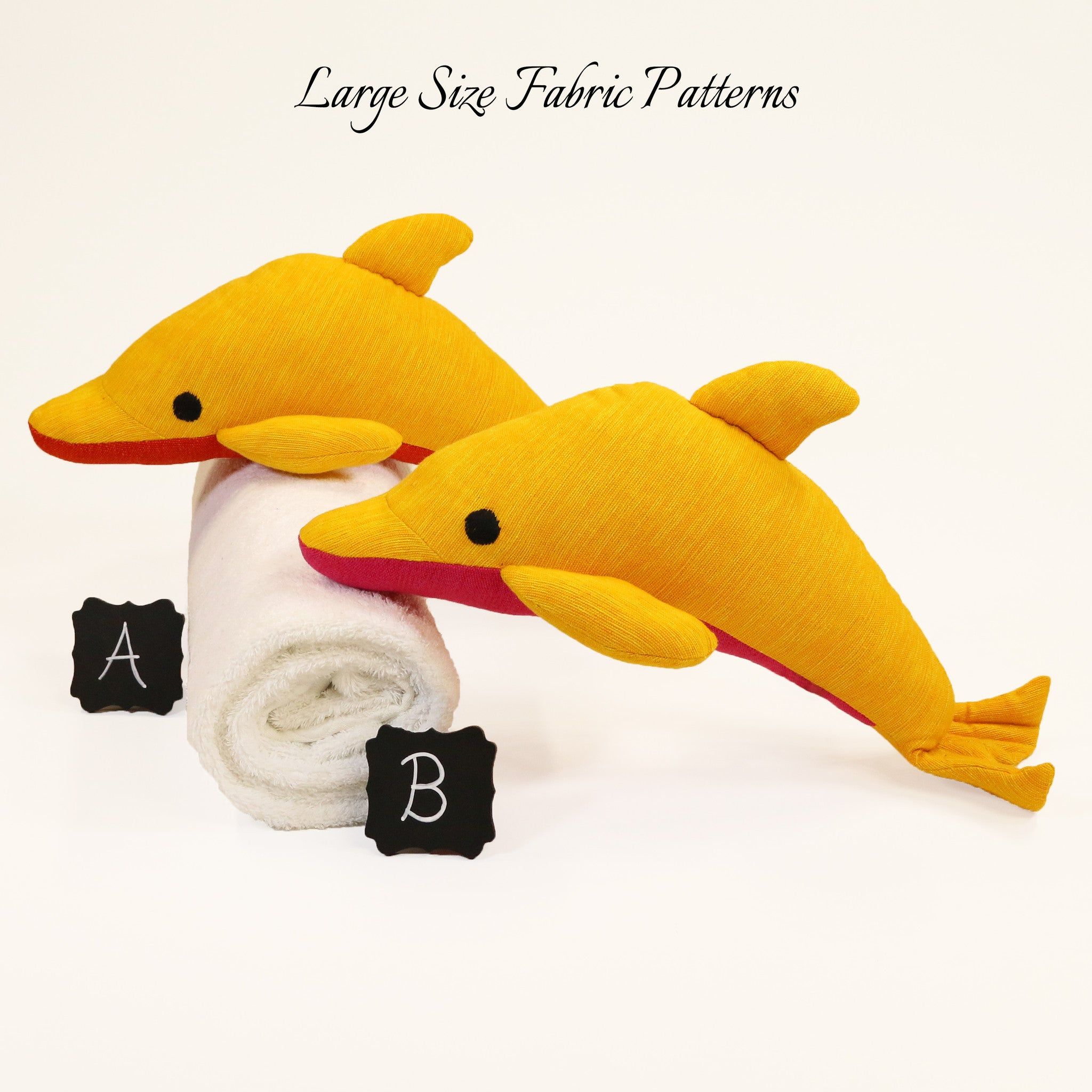 Debby, the Dolphin – all large size fabric patterns shown