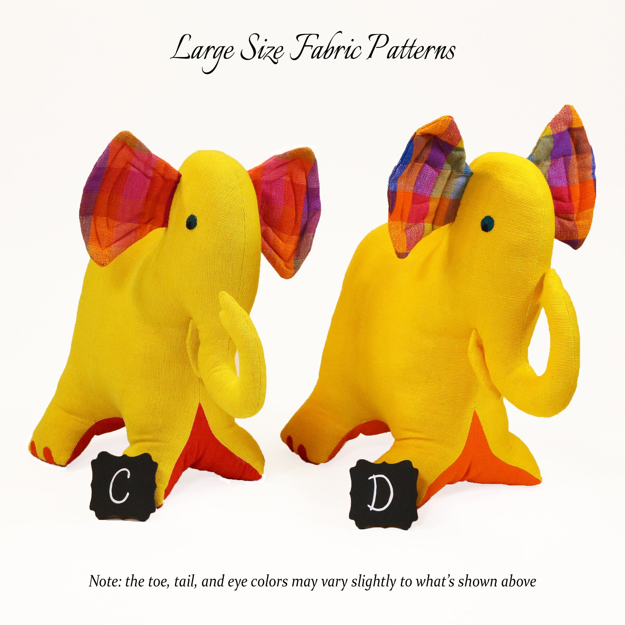 Ellen, the Elephant – large size fabric patterns shown