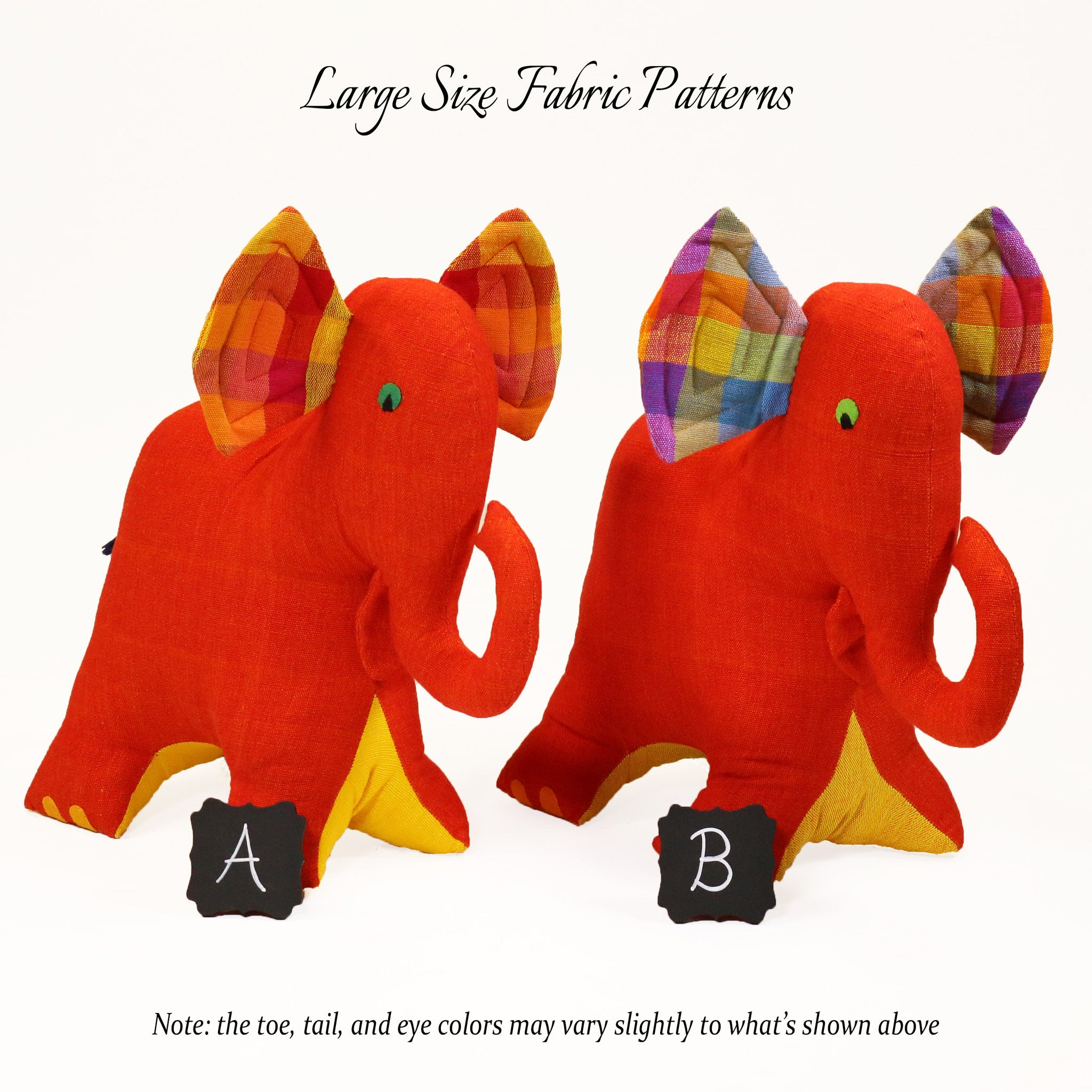 Eva, the Elephant – all large size fabric patterns shown
