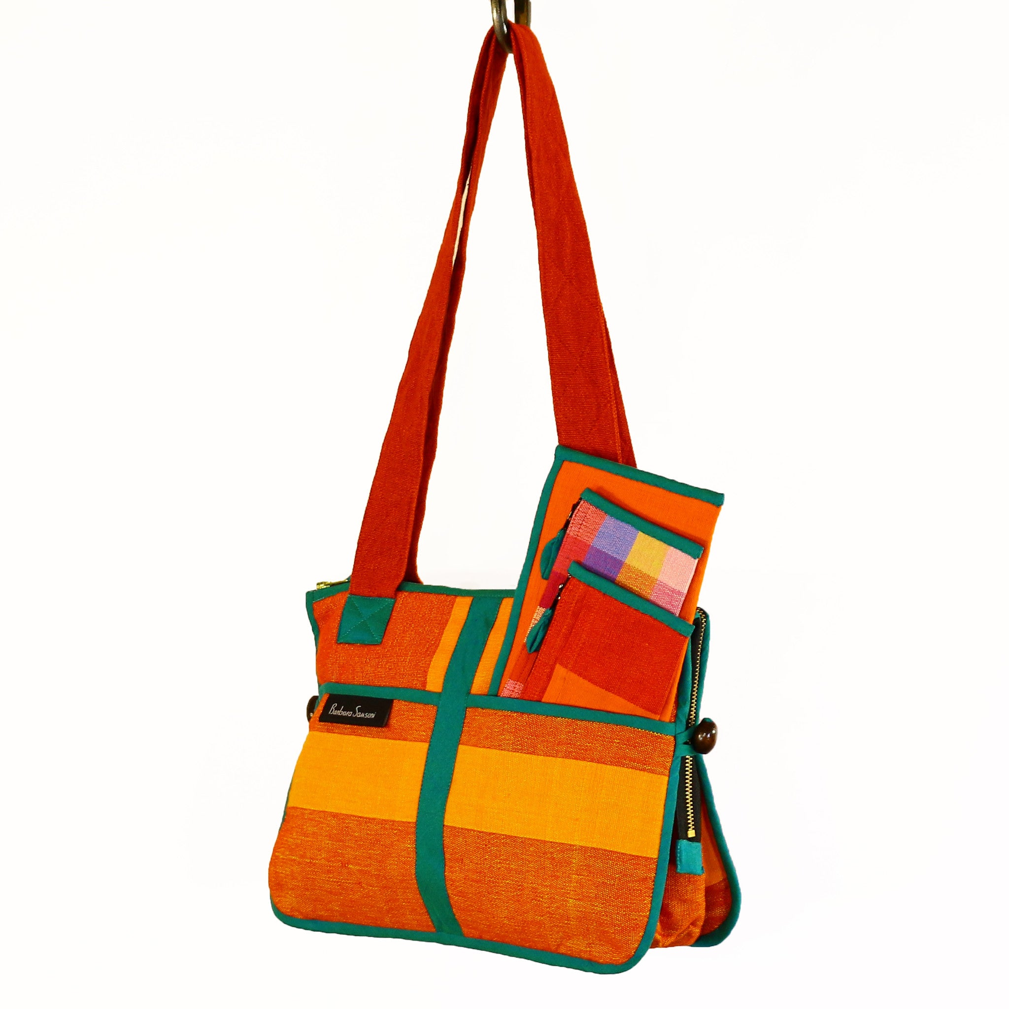 Barefoot Handwoven Expandable Shoulder Bag - Canyon fabric shown