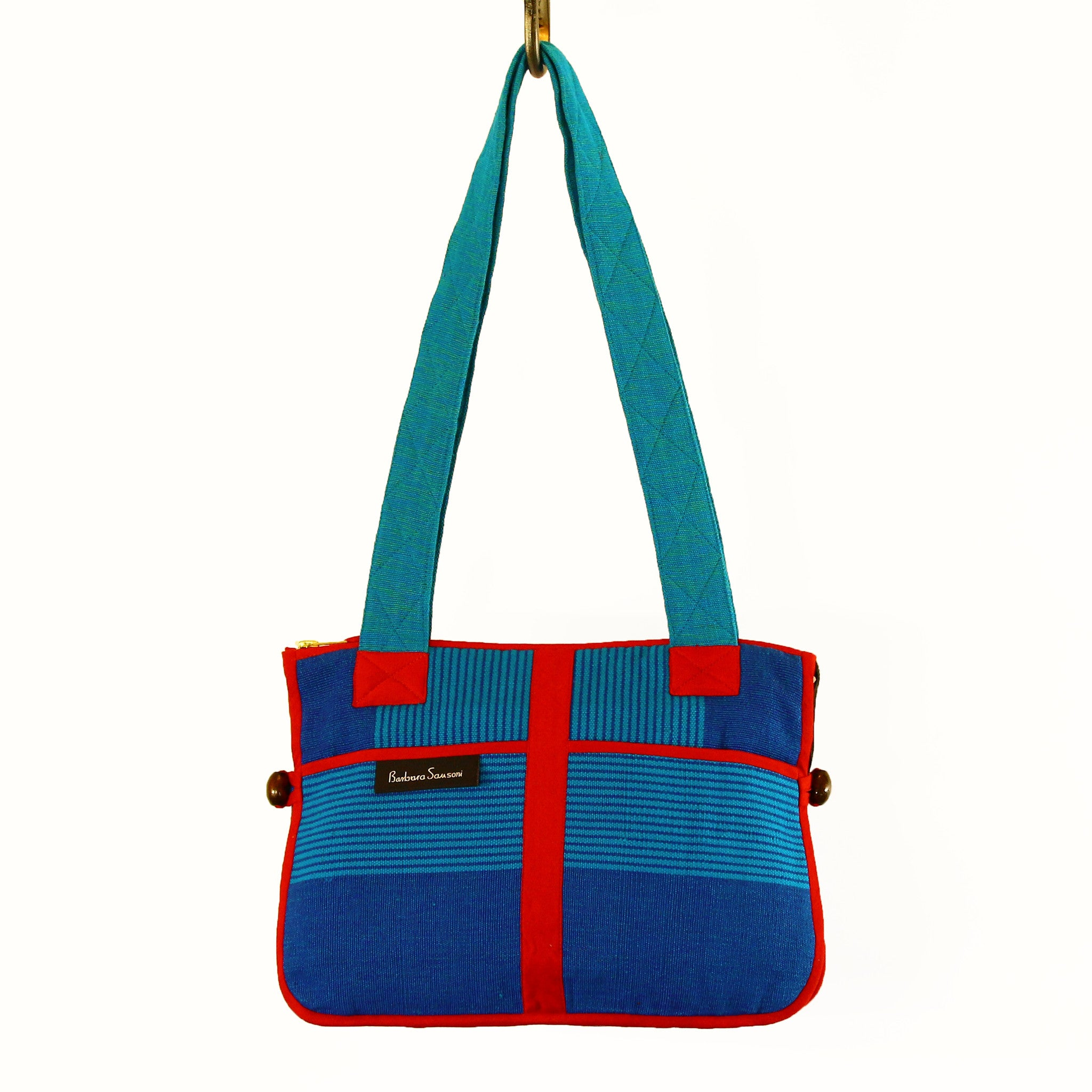 Barefoot Handwoven Expandable Shoulder Bag - Marina fabric shown