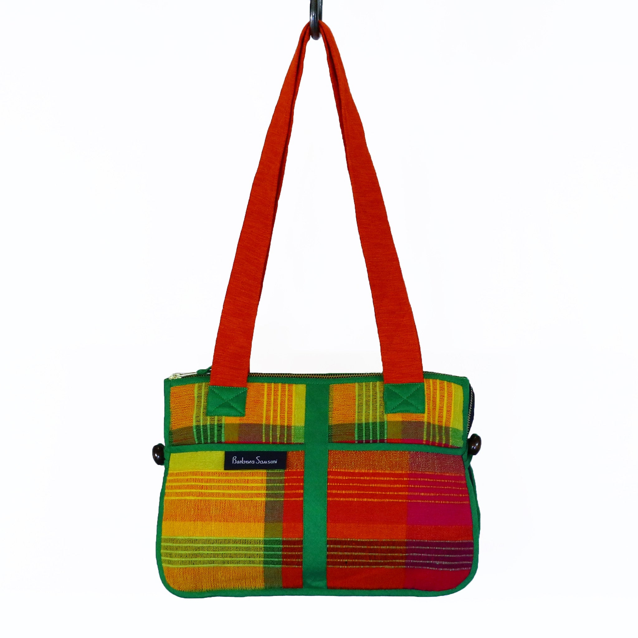 Barefoot Handwoven Expandable Shoulder Bag - Papaya fabric shown