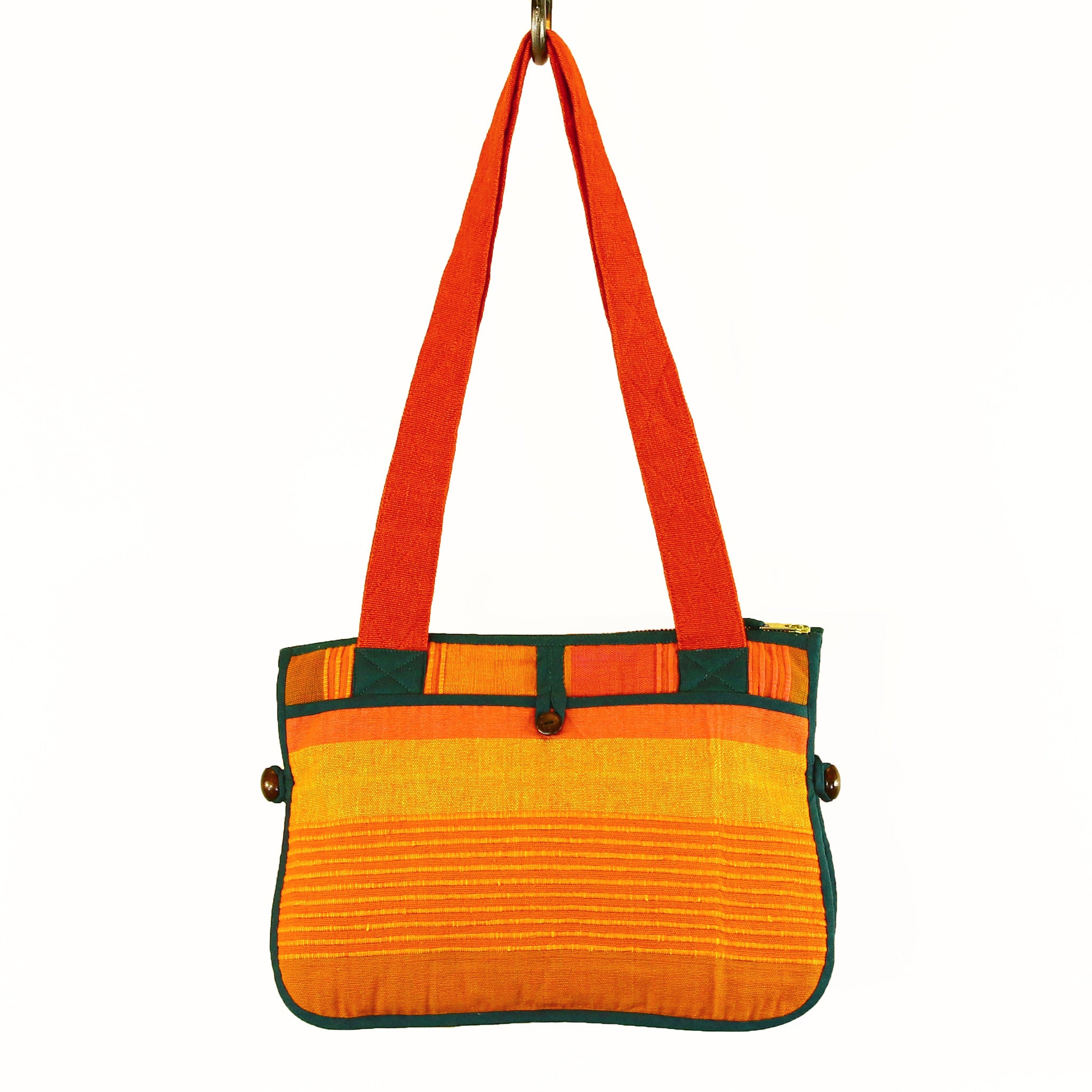 Barefoot Handwoven Expandable Shoulder Bag - Sunset fabric shown