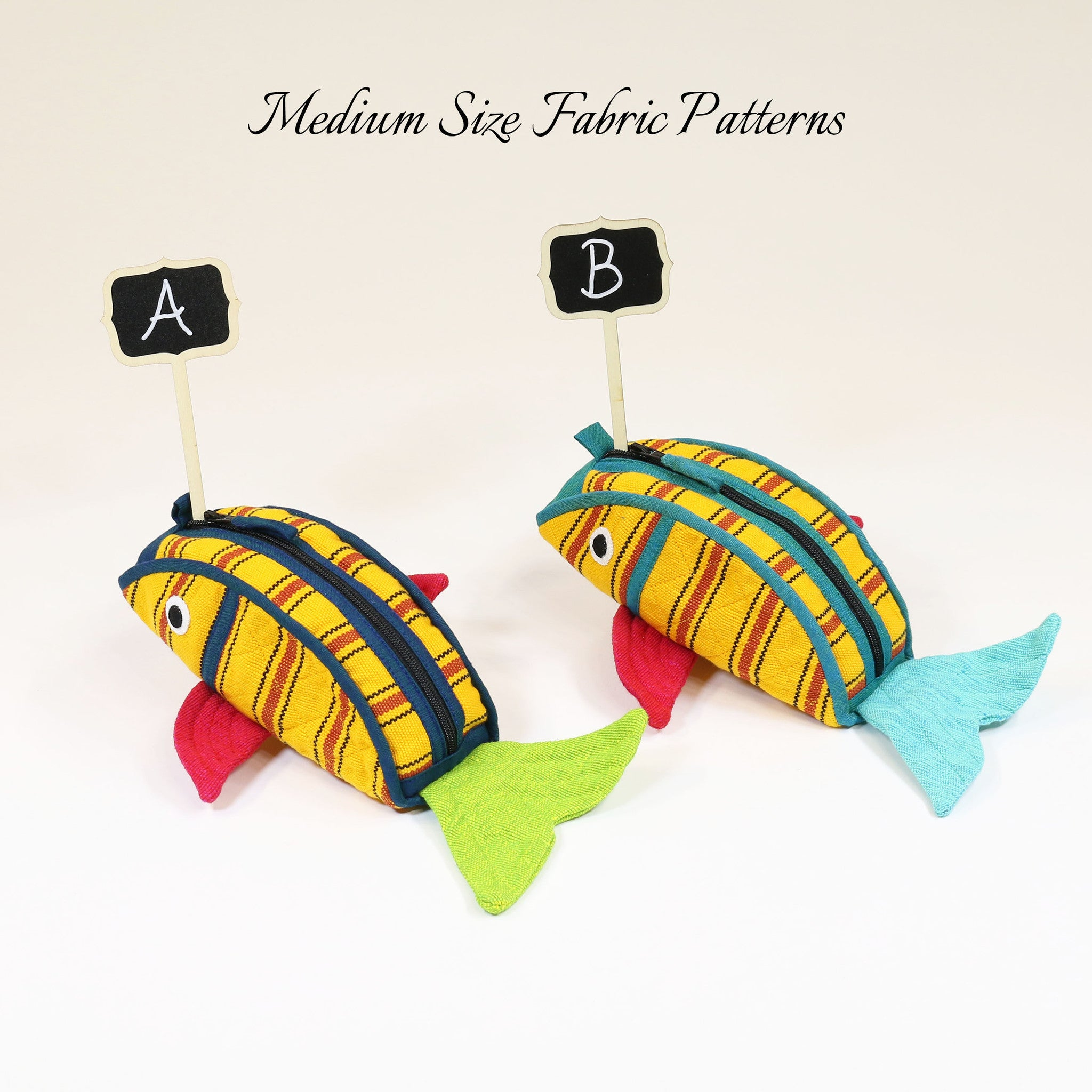Fish Zip Pouch – all medium size Juicy Fruit fabric patterns shown