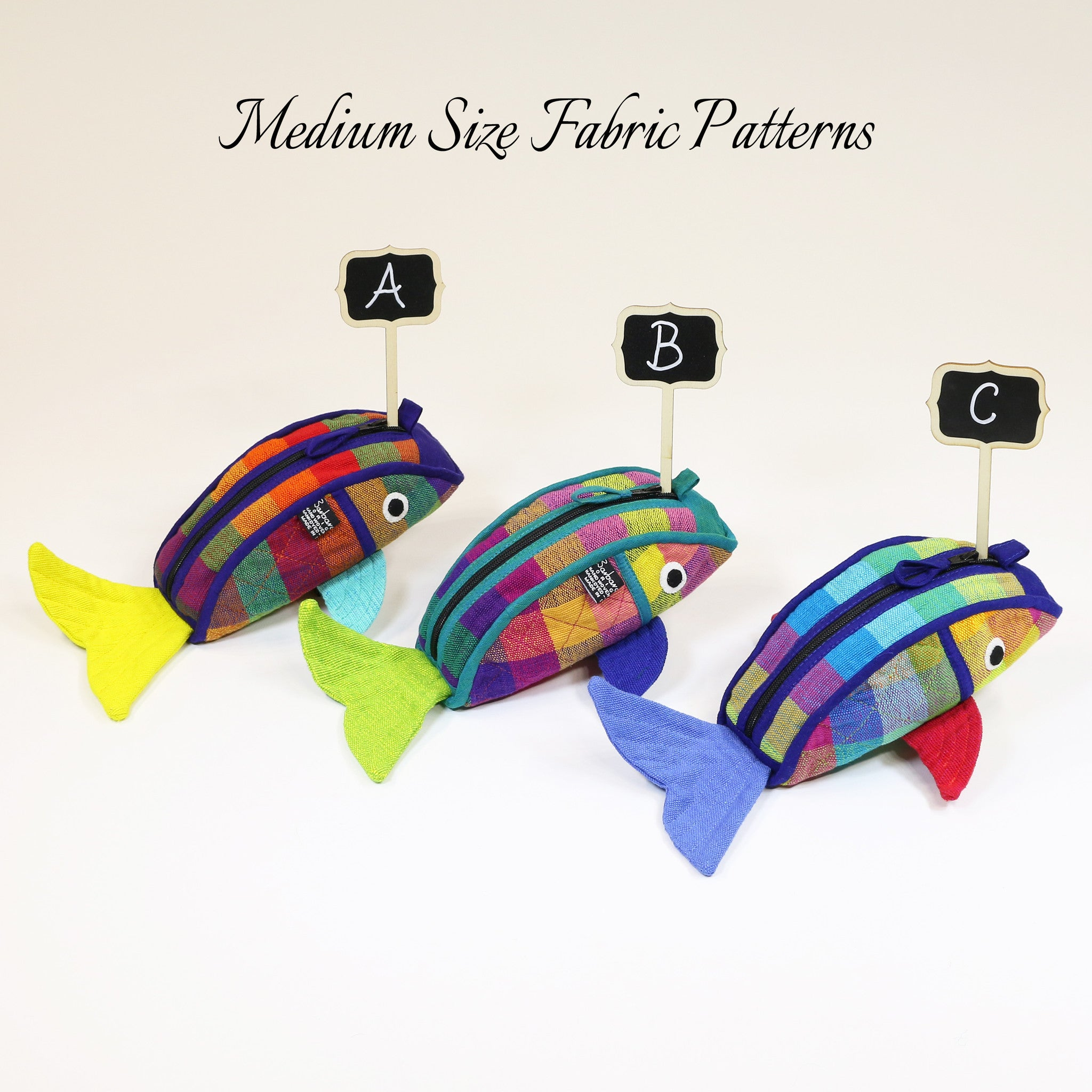 Fish Zip Pouch – medium size Carousel fabric patterns shown