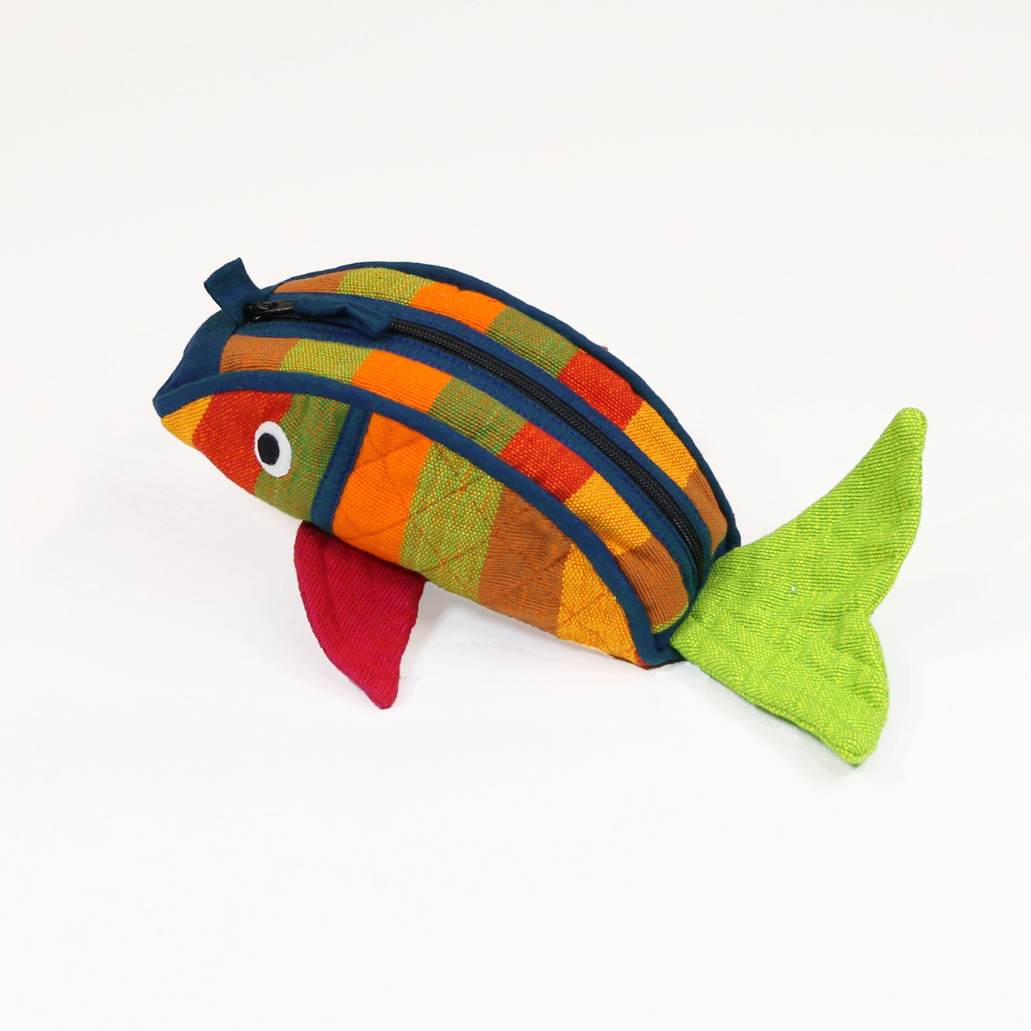 Fish Zip Pouch - Terracotta fabric shown (medium size)