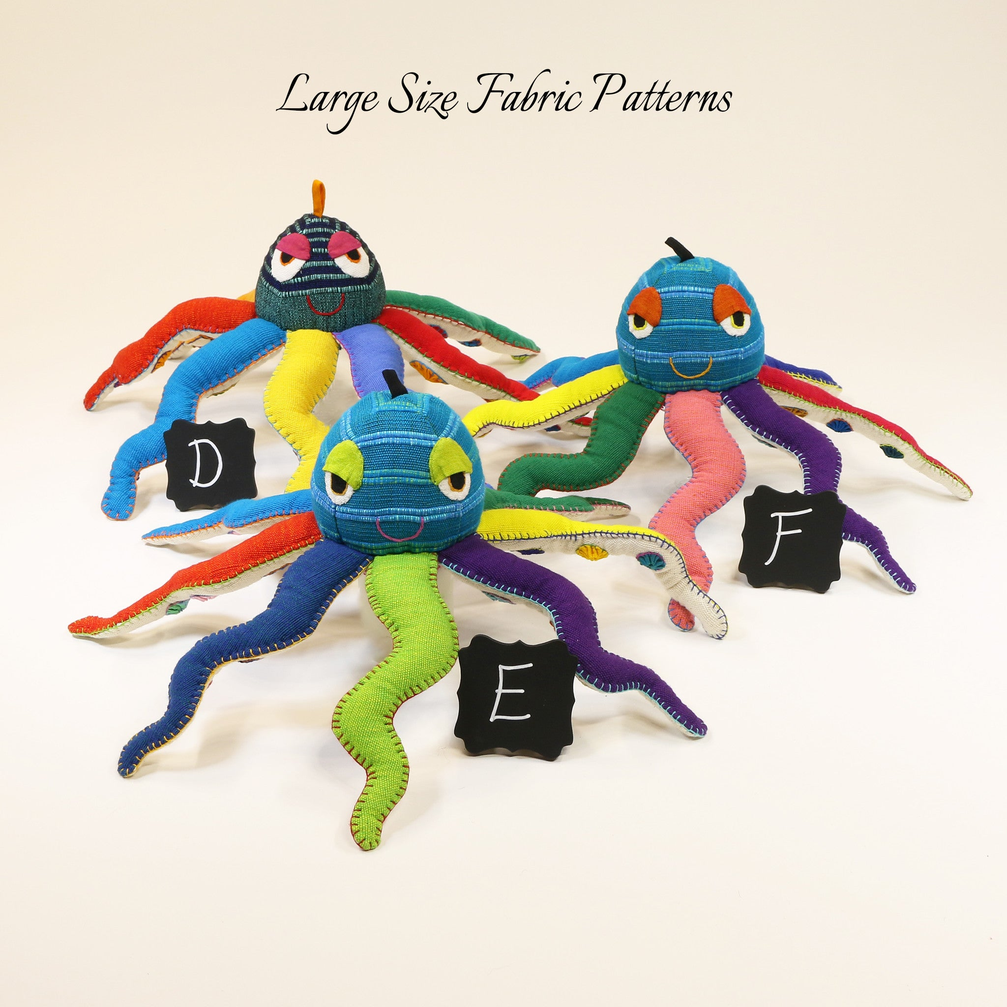 Owen, the Octopus – large size fabric patterns shown