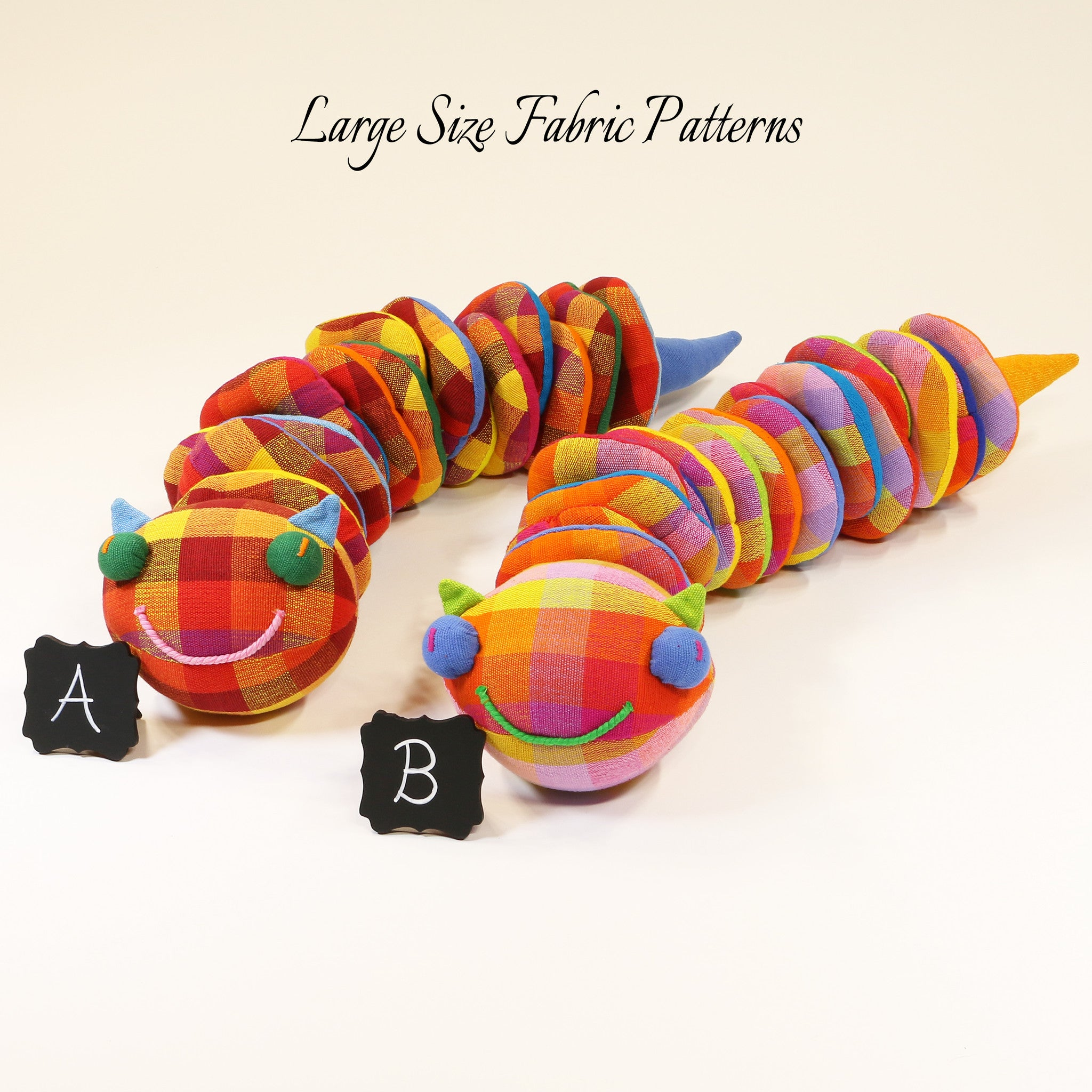 Christy, the Caterpillar – large size fabric patterns shown