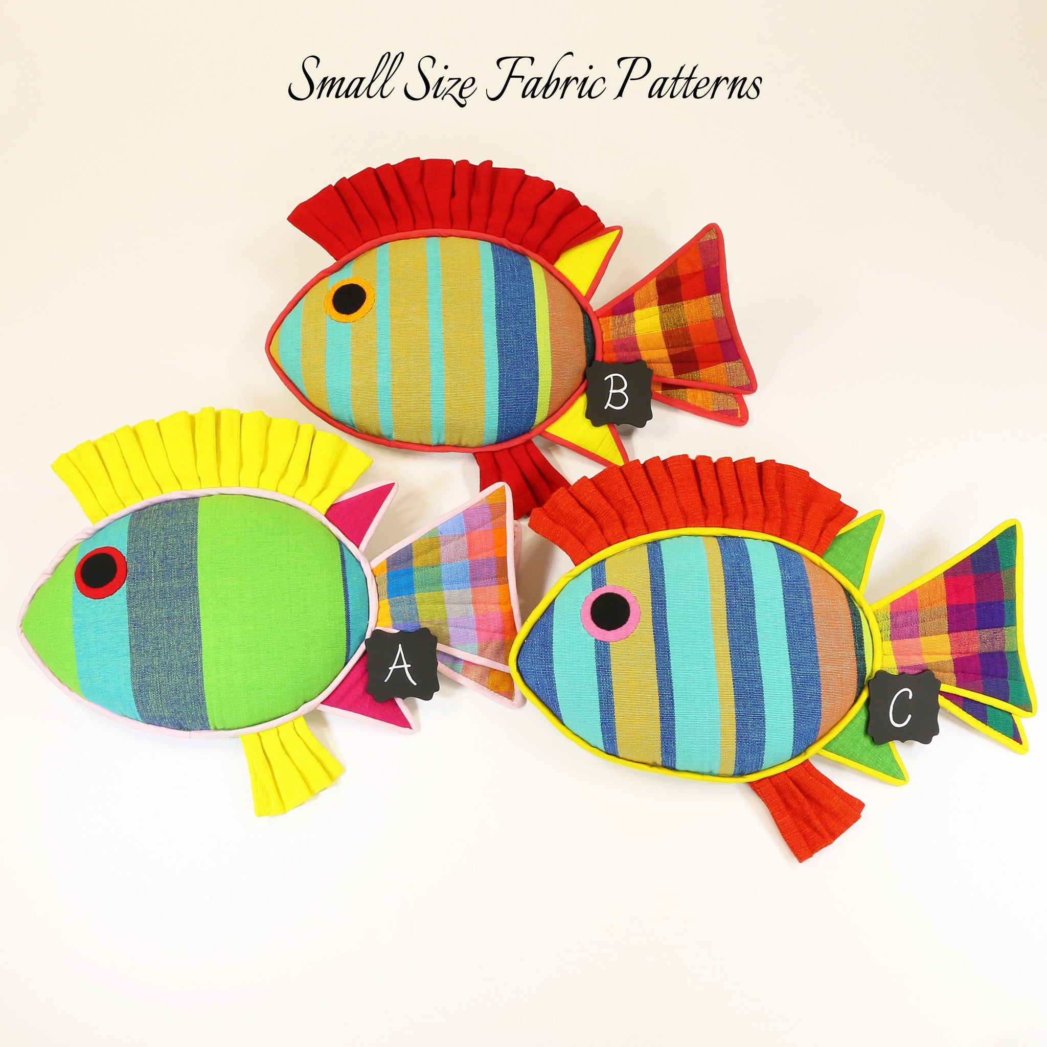 Reagan, the Rabbit Fish – all small size fabric patterns shown