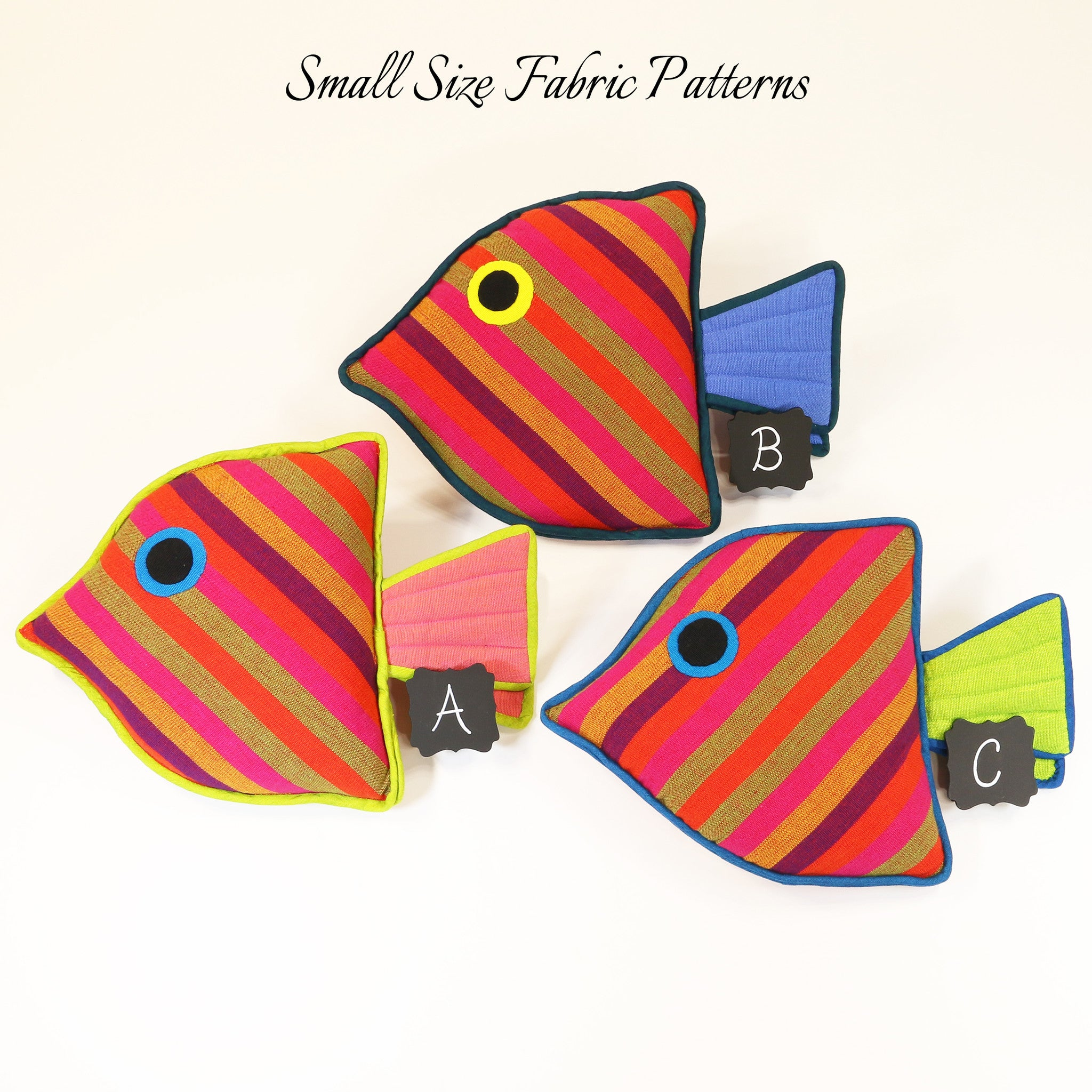 Lydia, the Juvenile Fish – all small size fabric patterns shown