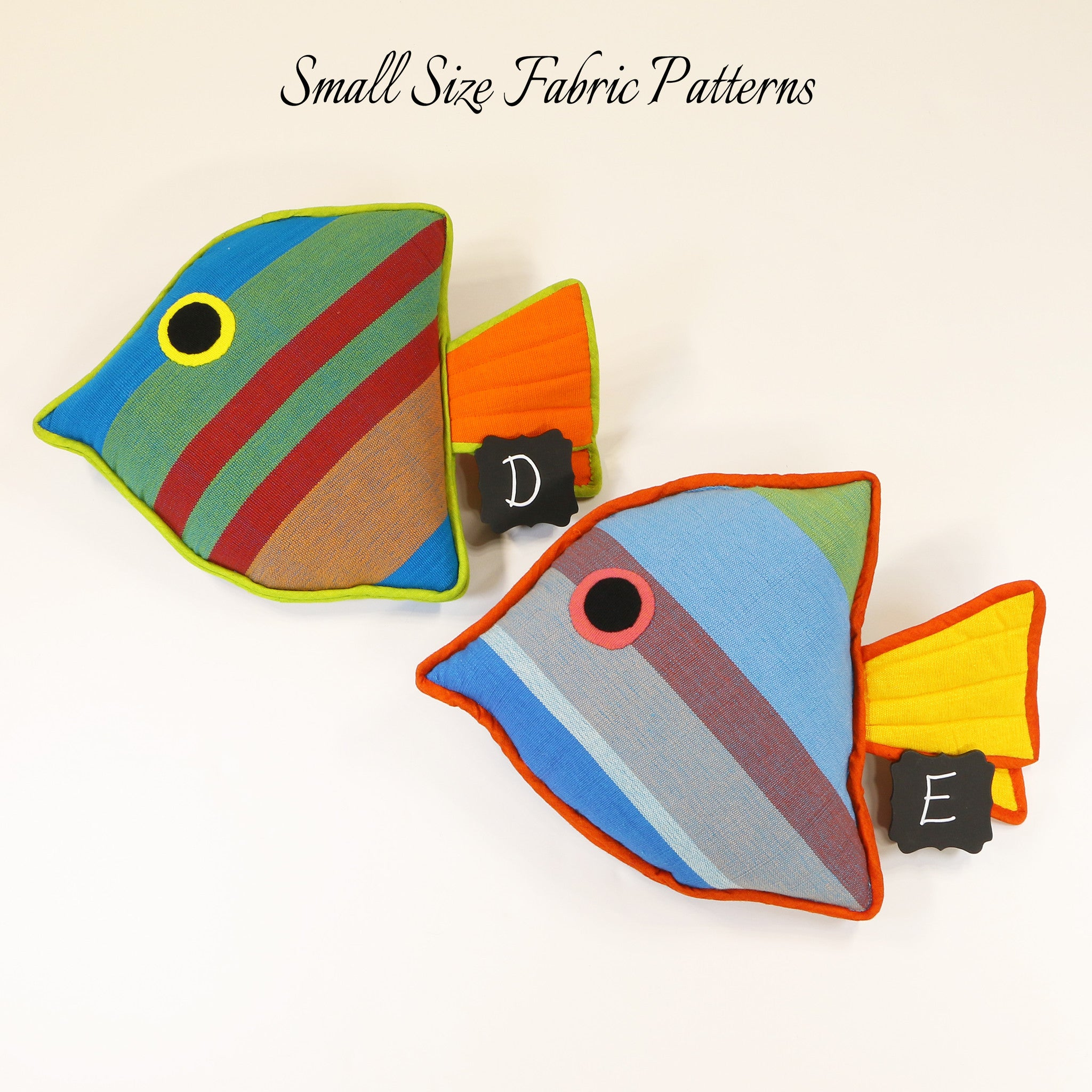 Leroy, the Juvenile Fish – small size fabric patterns shown
